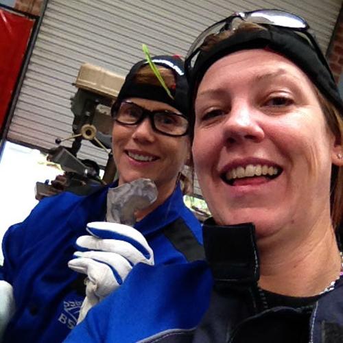 Joanie and Maureen welding something good